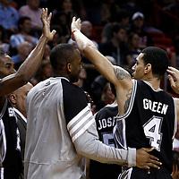 17 January 2012: San Antonio Spurs small forward Kawhi Leonard (2) congrats San Antonio Spurs guard Daniel Green (4) during the Miami Heat 120-98 victory over the San Antonio Spurs at the AmericanAirlines Arena, Miami, Florida, USA.