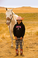 Crow Fair, granddaughter of Henry Real Bird, horse, Crow Indian Reservation, Montana