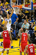 Golden State Warriors guard Shaun Livingston (34) lays the ball into the basket against the Houston Rockets during Game 6 of the Western Conference Finals at Oracle Arena in Oakland, Calif., on May 26, 2018. (Stan Olszewski/Special to S.F. Examiner)