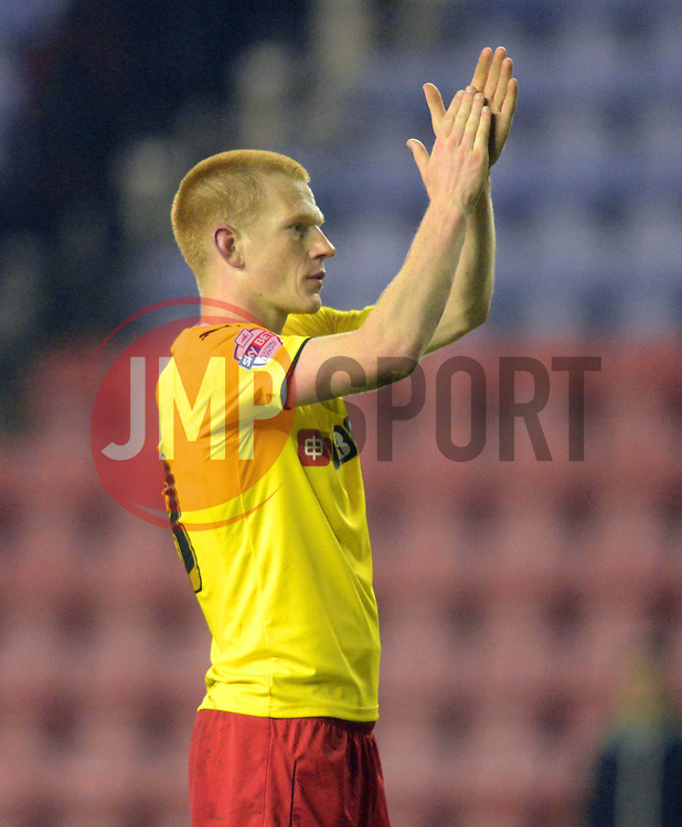 Watford's Ben Watson salutes the fans - Photo mandatory by-line: Richard Martin-Roberts/JMP - Mobile: 07966 386802 - 17/03/2015 - SPORT - Football - Wigan - DW Stadium - Wigan Athletic  v Watford - Sky Bet Championship