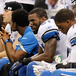 December 4, 2011; New Orleans, LA, USA; Detroit Lions wide receiver Calvin Johnson (81) sits on the bench during the fourth quarter of a game against the New Orleans Saints at the Mercedes-Benz Superdome. The Saints defeated the Lions 31-17. Mandatory Credit: Derick E. Hingle-US PRESSWIRE