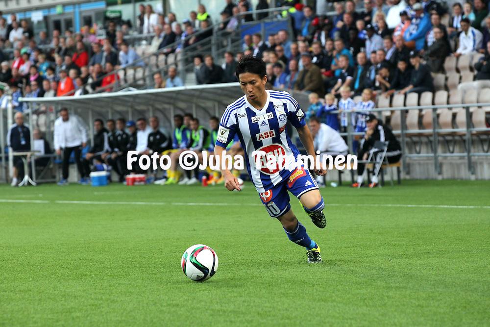 "29.7.2015, Sonera Stadium, Helsinki.<br /> UEFA Champions League, 3rd qualifying round, 1st leg match: HJK Helsinki - FC Astana (Kazakhstan).<br /> Atomu ""Atom"" Tanaka - HJK"