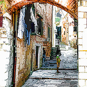 Artist impression of an alley in Kotor, Montenegro