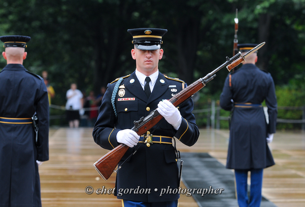 ARLINGTON, VA.  United States Army 3rd Infantry Regiment Honor Guard sentries during a changing of the guard at the Tomb of he Unknowns in Arlington National Cemetery in Arlington, VA on Saturday, September 21, 2013.  © www.chetgordon.com