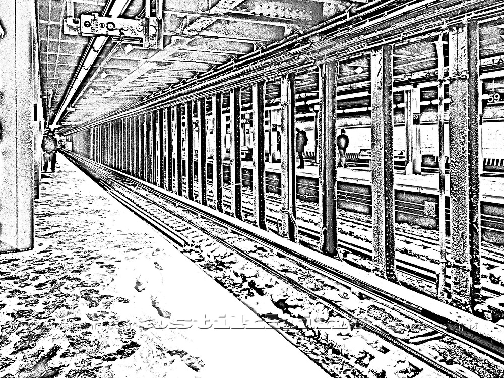 Snow on NYC Subway train station.