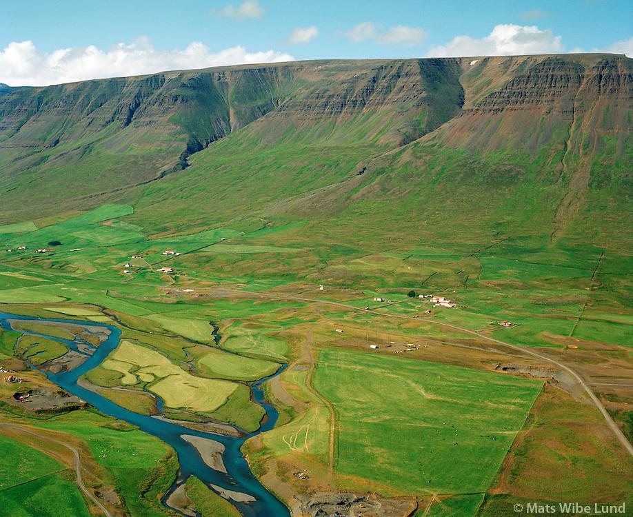 Þríhyrningur og Auðbrekka séð til norðvesturs, Hörgárbyggð áður Skriðuhreppur / Thrihyrningur and Audbrekka viewing northwest, Horgarbyggd former Skriduhreppur.