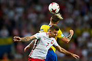 Lublin, Poland - 2017 June 19: Karol Linetty from Poland U21 fights for the ball while Poland v Sweden match during 2017 UEFA European Under-21 Championship at Lublin Arena on June 19, 2017 in Lublin, Poland.<br /> <br /> Mandatory credit:<br /> Photo by &copy; Adam Nurkiewicz / Mediasport<br /> <br /> Adam Nurkiewicz declares that he has no rights to the image of people at the photographs of his authorship.<br /> <br /> Picture also available in RAW (NEF) or TIFF format on special request.<br /> <br /> Any editorial, commercial or promotional use requires written permission from the author of image.