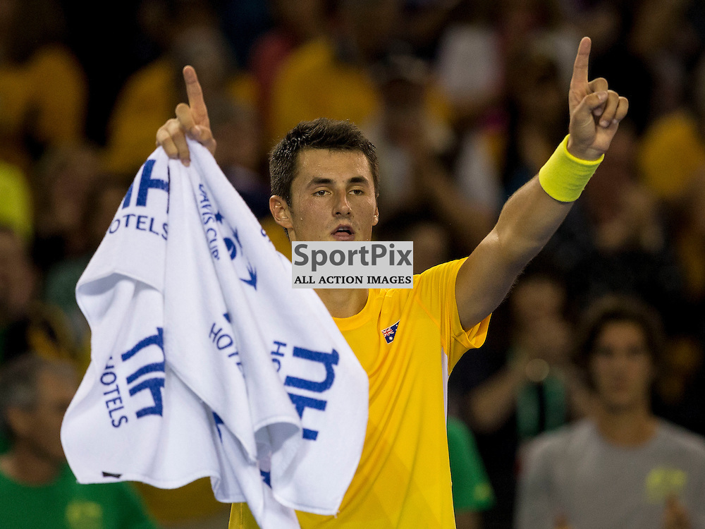Davis Cup semi-final: Great Britain v Australia<br /> <br /> Bernard Tomic  celebrates winning Friday's second singles Match.<br /> <br /> <br /> Picture: Alan Rennie