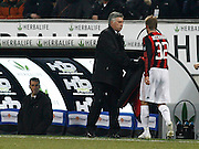 "Carlo Ancelotti hands David  Beckham his jacket after taking him off. .Milano 15/2/2009 Stadio ""Giuseppe Meazza"".Campionato Italiano Serie A.Inter Milan."