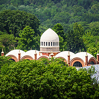 Photo of Elephant House at Cincinnati Zoo with the Elephant House roof dome from above along the trees. The Elephant House was built in 1906 and is part of the Cincinnati Zoo and Botanical Garden. Photo is high resolution and was taken in 2012.