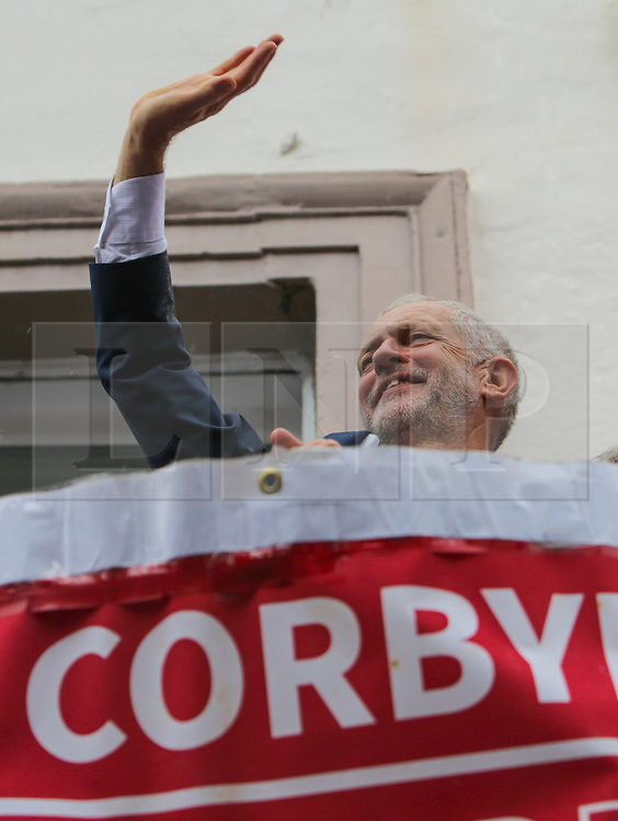 Copyright under licence to London News Pictures. 09/07/2016 Labour party leader Jeremy Corbyn on the balcony of the County Hotel at the 132nd annual Durham Miner's Gala.  Photo credit: Stuart Boulton/LNP