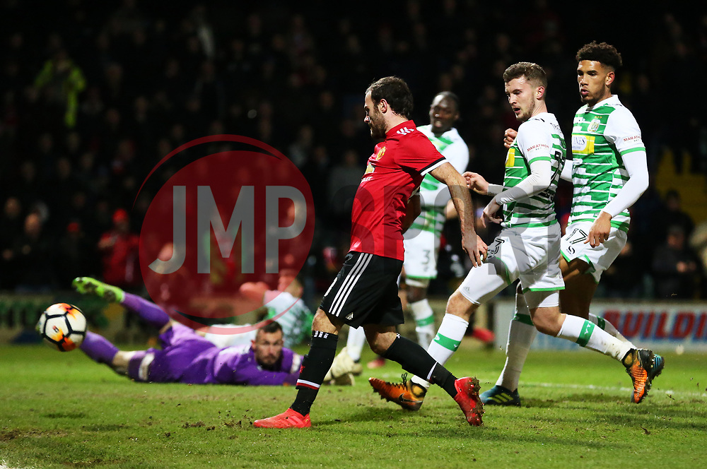 Juan Mata of Manchester United scores but is later rule out for offside - Rogan/JMP - 26/01/2018 - FOOTBALL - Huish Park - Yeovil, England - Yeovil Town v Manchester United - FA Cup Fourth Round.