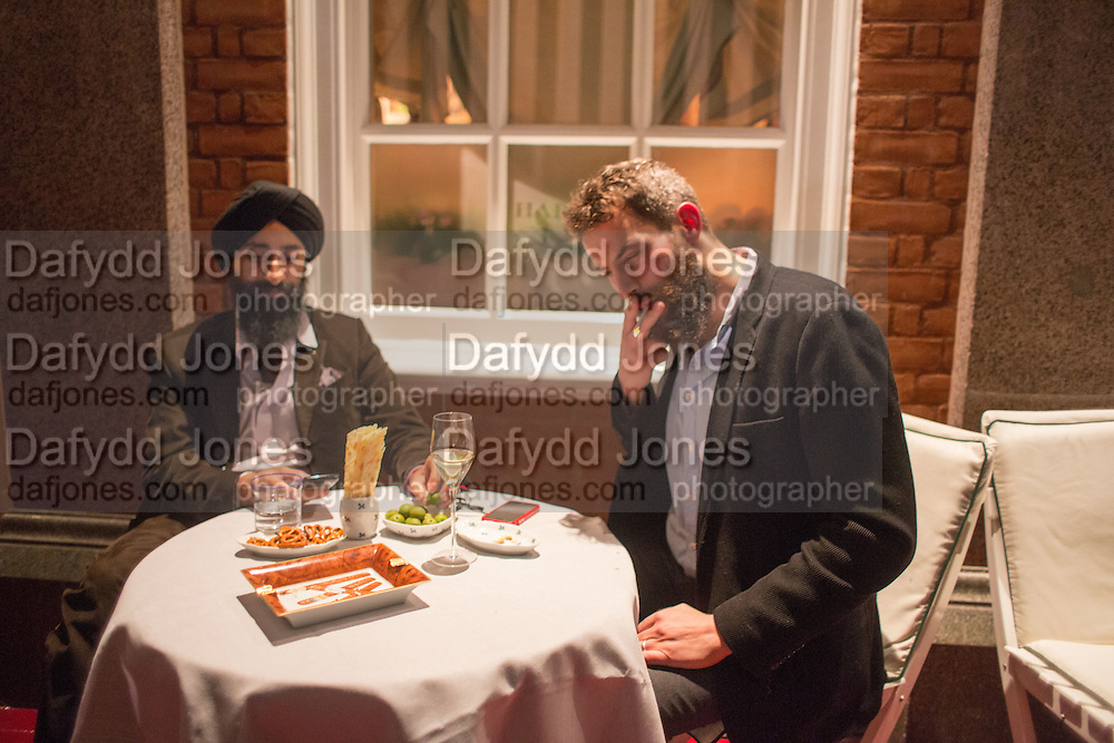 WARIS AHLUWALIA; SANDRO KOPP, Charles Finch and  Jay Jopling host dinner in celebration of Frieze Art Fair at the Birley Group's Harry's Bar. London. 10 October 2012.