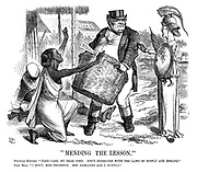"""Mending the Lesson."" Political Economy. ""Take care, my dear John. Don't interfere with the laws of supply and demand."" John Bull. ""I don't, Miss Prudence. She demands and I supply."""