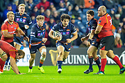 Jaun Pablo Socino (#12) of Edinburgh Rugby runs with the ball during the Guinness Pro 14 2018_19 rugby match between Edinburgh Rugby and Isuzu Southern Kings at the BT Murrayfield Stadium, Edinburgh, Scotland on 5 January 2019.