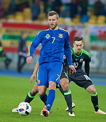 KIEV, UKRAINE - Easter Monday, March 28, 2016: Ukraine's Andriy Yarmolenko in action against Wales during the International Friendly match at the NSK Olimpiyskyi Stadium. (Pic by David Rawcliffe/Propaganda)