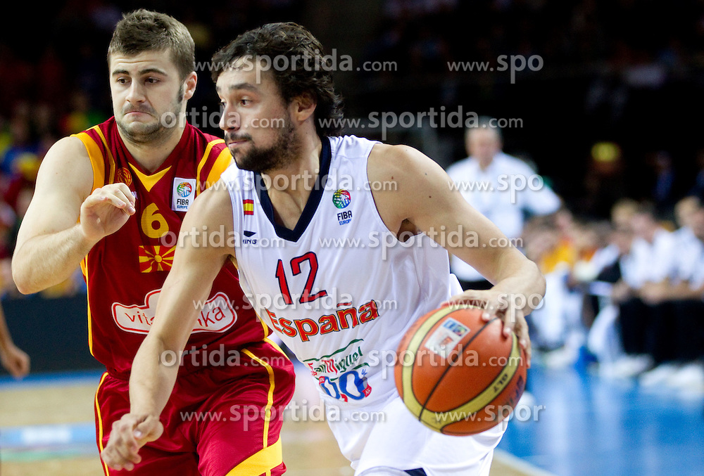 Darko Sokolov of Macedonia vs Sergio Llull of Spain during basketball game between National basketball teams of Spain and F.Y.R. of Macedonia in Semifinals  of FIBA Europe Eurobasket Lithuania 2011, on September 16, 2011, in Arena Zalgirio, Kaunas, Lithuania.  (Photo by Vid Ponikvar / Sportida)