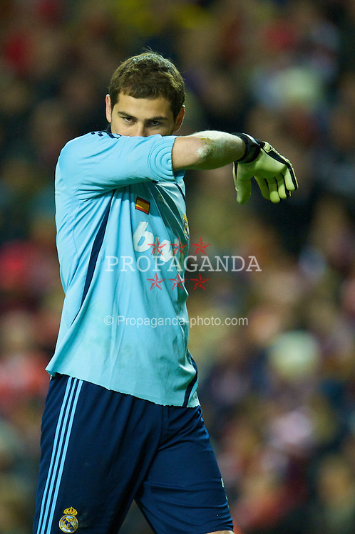 LIVERPOOL, ENGLAND - Tuesday, March 10, 2009: Real Madrid's goalkeepr Iker Casillas looks dejected during his side's 4-0 defeat by Liverpool during the UEFA Champions League First Knockout Round 2nd Leg match at Anfield. (Photo by David Rawcliffe/Propaganda)