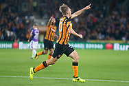 Jarrod Bowen of Hull City celebrates scoring his side&rsquo;s 2nd goal during the Sky Bet Championship match at the KCOM Stadium, Hull<br /> Picture by Paul Chesterton/Focus Images Ltd +44 7904 640267<br /> 25/08/2017