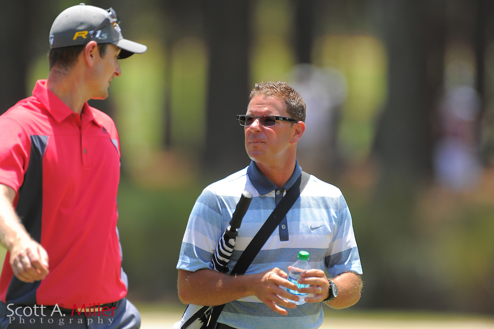 Justin Rose and his instructor Sean Foley during a practice round prior to the Players Championship at the TPC Sawgrass on May 9, 2012 in Ponte Vedra, Fla. ..©2012 Scott A. Miller.