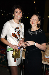 Left to right, THOMASINA MIERS and ANNABEL BUCKINGHAM at a party to celebrate the publication of Soup Kitchen by Annabel Buckingham and Thomasina Miers held at Eat. Royal Festival Hall, London SE1 on 1st November 2005.<br />