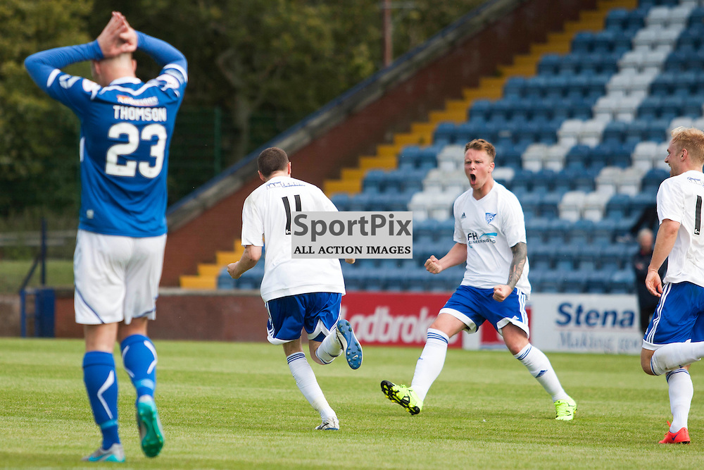 Peterhead celebrate NIcky Riley&rsquo;s goal in the Stranraer v Peterhead Ladbrokes SPFL Scottish Division 1 at Stair Park in Stranraer 15 August 2015<br /><br />&copy; Russell Gray Sneddon / StockPix.eu