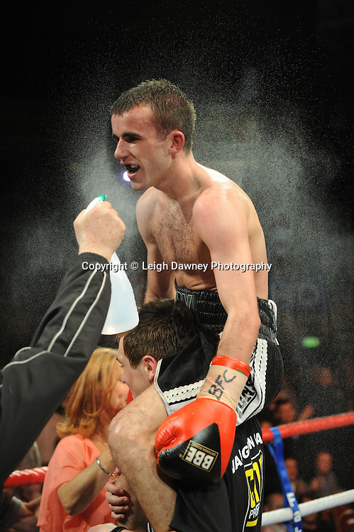 Paul Edwards thinks he has won the Title on the final bell, but is bitterly disappointed after the MC announces Chris Edwards as the winner for the British Flyweight Title at Olympia, Liverpool on the 11th June 2011. Frank Maloney Promotions.Photo credit: Leigh Dawney 2011
