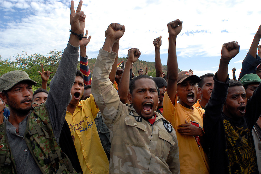 Some 2,000 protesters are stopped briefly at a military roadblock, as they head for the Capitol, Dili, to show their suipport for Xanana Gusmao, and demand the removal of Prime Minister Mari Alkatiri.
