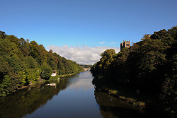 © Licensed to London News Pictures. <br /> 24/09/2014. <br /> <br /> Durham, United Kingdom<br /> <br /> Looking down the River Wear  towards Framwellgate Bridge in Durham City.<br /> <br /> <br /> Photo credit : Ian Forsyth/LNP