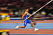 Emmanouil Karalis (GRE) on the runway in the Mens Pole Vault Final during the final session of the IAAF World Indoor Championships at Arena Birmingham in Birmingham, United Kingdom on Saturday, Mar 2, 2018. (Steve Flynn/Image of Sport)