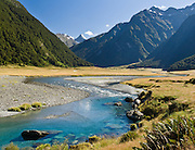 "See Siberia Stream on the ""Siberia Experience"" hike in Mount Aspiring National Park, in the Southern Alps, New Zealand. In 1990, UNESCO honored Te Wahipounamu - South West New Zealand as a World Heritage Area."