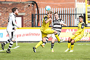 Forest Green Rovers Mark Ellis(5) clears the ball during the Vanarama National League match between Southport and Forest Green Rovers at the Merseyrail Community Stadium, Southport, United Kingdom on 17 April 2017. Photo by Shane Healey.
