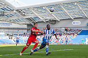 Blackburn Rovers player Craig Conway and Brighton midfielder winger Kazenga LuaLua battle for a loose ball during the Sky Bet Championship match between Brighton and Hove Albion and Blackburn Rovers at the American Express Community Stadium, Brighton and Hove, England on 22 August 2015. Photo by Bennett Dean.