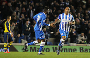 Brighton's Chris O'Grady celebrates his goal during the The FA Cup match between Brighton and Hove Albion and Arsenal at the American Express Community Stadium, Brighton and Hove, England on 25 January 2015. Photo by Phil Duncan.