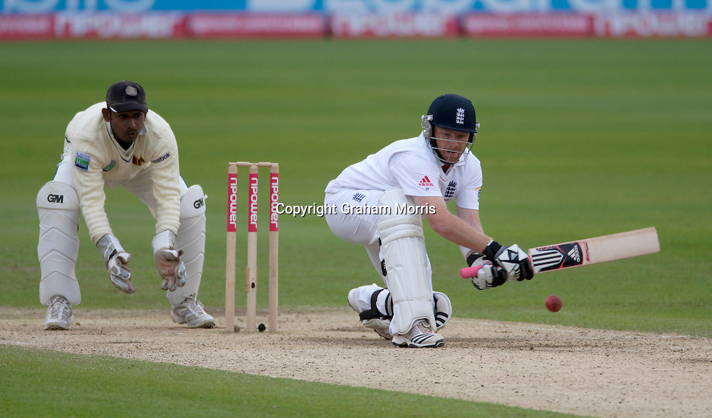 Ian Bell reverse sweeps Rangana Herath for four during the first npower Test Match between England and Sri Lanka at the SWALEC Stadium, Cardiff.  Photo: Graham Morris (Tel: +44(0)20 8969 4192 Email: sales@cricketpix.com) 29/05/11