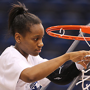 Jewell Loyd, Notre Dame, cuts the basketball net after the Connecticut V Notre Dame Final match won by Notre Dame 61-59 during the Big East Conference, 2013 Women's Basketball Championships at the XL Center, Hartford, Connecticut, USA. 11th March. Photo Tim Clayton