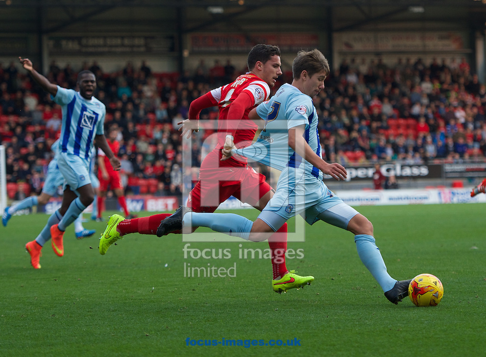 Mathieu Baudry of Leyton Orient pulls John Fleck (right) of Coventry City back by his shirt during the Sky Bet League 1 match at the Matchroom Stadium, London<br /> Picture by Alan Stanford/Focus Images Ltd +44 7915 056117<br /> 01/11/2014