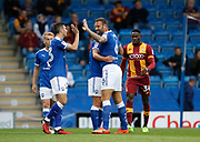 Goal celebration by Kristian Dennis of Chesterfield  during the EFL Trophy match between Chesterfield and Bradford City at the b2net stadium, Chesterfield, England on 29 August 2017. Photo by Paul Thompson.
