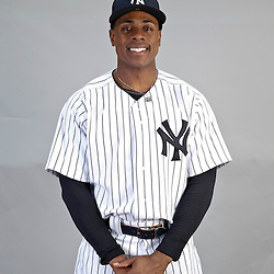 Feb 20, 2013; Tampa, FL, USA; New York Yankees center fielder Curtis Granderson (14) during photo day at Steinbrenner Field. Mandatory Credit: Derick E. Hingle-USA TODAY Sports