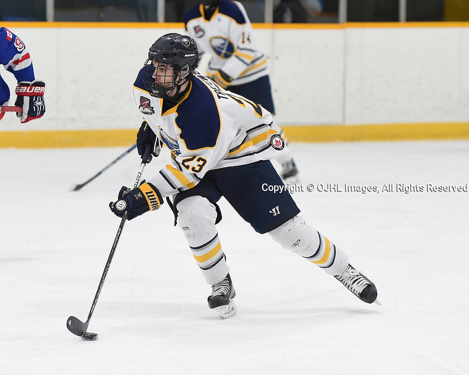 TRENTON, ON - JAN 25,  2017: Ontario Junior Hockey League game between North York and Buffalo at the 2017 Winter Showcase , Adam Tretowicz #23 of the Buffalo Jr. Sabres skates with the puck during the second period.<br /> (Photo by Andy Corneau / OJHL Images)