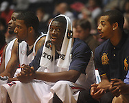 """Ole MIss forward Reginald Buckner (2) watches from the bench at the C.M. """"Tad"""" Smith Coliseum in Oxford, Miss. on Thursday, December 29, 2010. Buckner did not play in the game due to a knee injury, according to coach Andy Kennedy. Ole Miss won 100-62. (AP Photo/Oxford Eagle, Bruce Newman)"""
