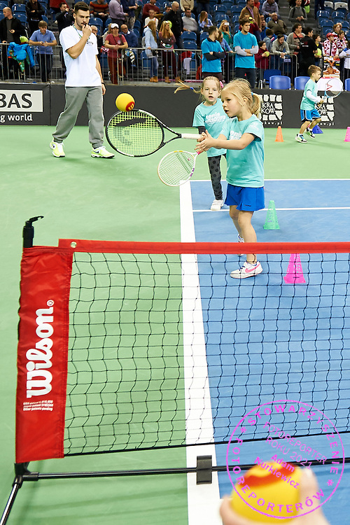 Tenis 10 exhibition on main court during First Day of the Fed Cup / World Group 1st round tennis match between Poland and Russia at Tauron Krakow Arena on February 7, 2015 in Cracow, Poland.<br /> <br /> Poland, Cracow, February 7, 2015<br /> <br /> Picture also available in RAW (NEF) or TIFF format on special request.<br /> <br /> For editorial use only. Any commercial or promotional use requires permission.<br /> <br /> Adam Nurkiewicz declares that he has no rights to the image of people at the photographs of his authorship.<br /> <br /> Mandatory credit:<br /> Photo by &copy; Adam Nurkiewicz / Mediasport
