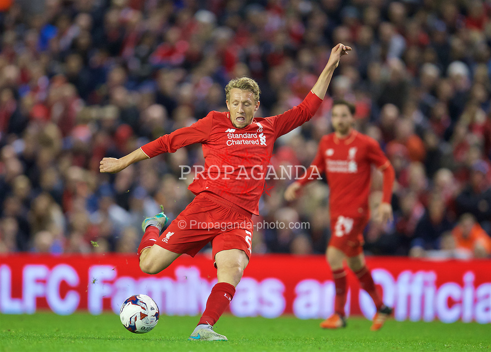LIVERPOOL, ENGLAND - Wednesday, October 28, 2015: Liverpool's Lucas Leiva tries a shot against AFC Bournemouth during the Football League Cup 4th Round match at Anfield. (Pic by David Rawcliffe/Propaganda)