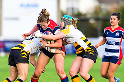 Amelia Buckland-Hurry of Bristol Ladies is tackled by Amy Cokayne and Kanyinsola Afilaka of Wasps Ladies - Mandatory by-line: Craig Thomas/JMP - 28/10/2017 - RUGBY - Cleve RFC - Bristol, England - Bristol Ladies v Wasps Ladies - Tyrrells Premier 15s