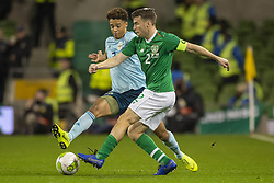 November 15, 2018 - Dublin, Ireland - Seamus Coleman of Ireland and Jamal Lewis of N.Ireland during the International Friendly match between Republic of Ireland and Northern Ireland at Aviva Stadium in Dublin, Ireland on November 15, 2018  (Credit Image: © Andrew Surma/NurPhoto via ZUMA Press)