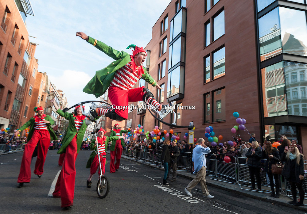 2nd Nov 2013. Father Christmas made his eagerly-anticipated arrival at Harrods with the store's annual Christmas Parade. Crowds of excited children and parents lined the streets to watch a performance of jugglers, reindeer and a parade of  Nickelodeon characters.