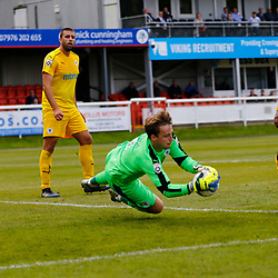 SEPTEMBER 1y6:  Dover Athletic against Chester FC in Conference Premier at Crabble Stadium in Dover, England. Doveer ran out emphatic winners 4 goal to nothing. Chester's  keeper Alex Lynch puts in another save to deny the whites. (Photo by Matt Bristow/mattbristow.net)