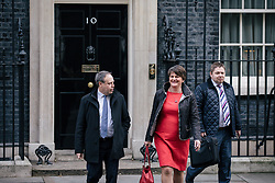 © Licensed to London News Pictures. 21/11/2017. London, UK. DUP Leader ARLENE FOSTER (C) and DUP MP for North Belfast NIGEL DODDS (L) leave 10 Downing Street after meeting with Prime Minister Theresa May. Photo credit: Rob Pinney/LNP