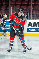 KELOWNA, CANADA - NOVEMBER 29: James Hilsendager #2 of the Kelowna Rockets warms up against the Prince George Cougars on November 29, 2017 at Prospera Place in Kelowna, British Columbia, Canada.  (Photo by Marissa Baecker/Shoot the Breeze)  *** Local Caption ***