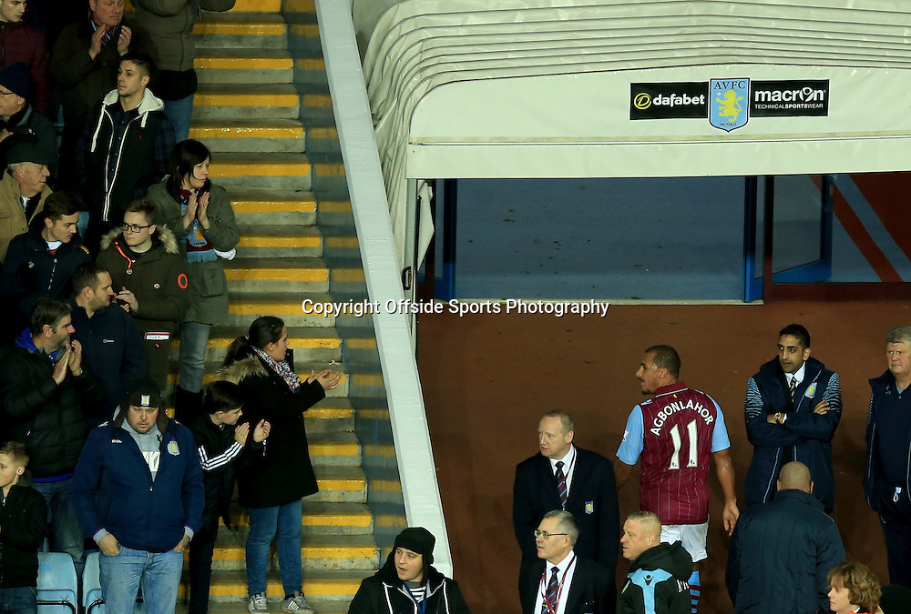 20 December 2014 - Barclays Premier League - Aston Villa v Manchester United - Gabriel Agbonlahor of Aston Villa is applauded as he leaves the pitch after being sent off - Photo: Marc Atkins / Offside.